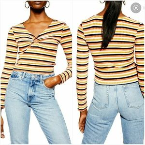 NWT TOPSHOP Stripe Ribbed Crop Top-Size 4